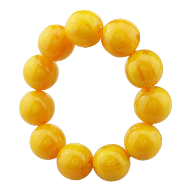 FOY-MALL 20mm Yellow Imitation Beeswax Beads Stretch Bracelet E1165