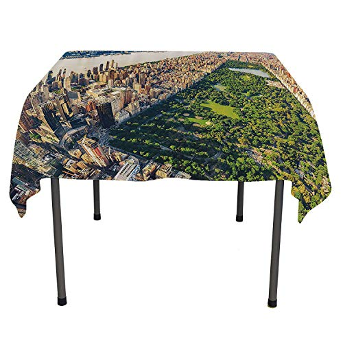 United States Dining Table Cover Central Park from The Air Surrounded by Buildings Downtown View Fern Green Sand Brown Table Cloth Picnic Outdoor Spring/Summer/Party/Picnic 50 by 80