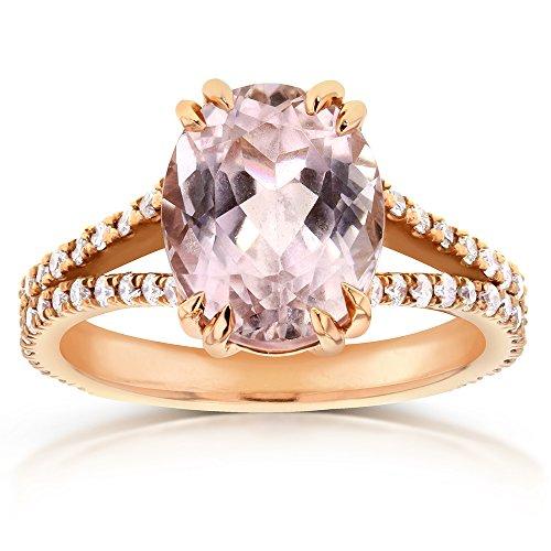 Kunzite & Diamond Split Shank Ring 3 4/5 Carat (ctw) in 14k Rose Gold_8.0