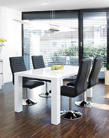 Salesfever Essgruppe Tisch 140x90 Cm Weiss Mit 4 Stuhlen Lio Aus