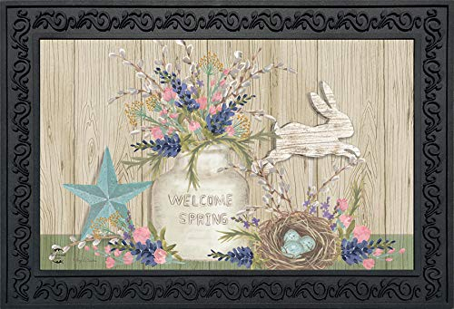 Primitive Spring - Briarwood Lane Gifts of Spring Primitive Doormat Floral Mason Jar Indoor Outdoor 18