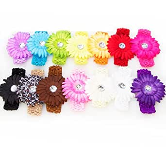 Ema Jane - 13 Large Gerber Daisy Flower Hair Clip Bows with Super Soft 'Ema Jane' Boutique Quality Stretchy Crochet Child Headbands