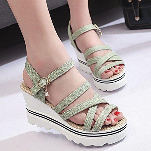 TAOFFEN Mode Compenses Bout Plateforme Chaussures Sandales Hauts Ete Boucle Ouvert Vert De Talons Femmes arWqxdRa