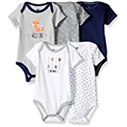 Hudson Baby Baby Infant Bodysuits, 5 Pack, Wild One, 0-3 Months