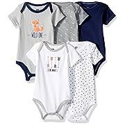 Hudson Baby Baby Bodysuits, 5 Pack, Wild One, 0-3 Months