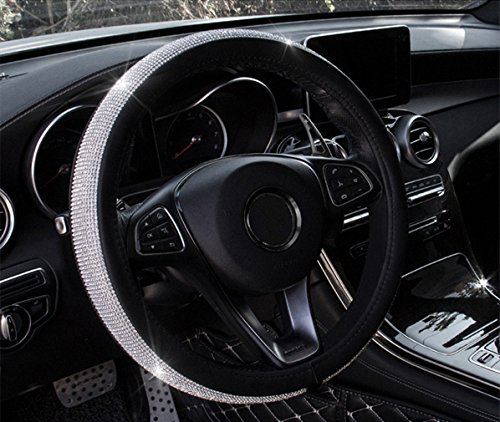 Coofig Leather Hand Sewing Fashion, Breathable, Skidproof Car Steering Wheel Cover Universal 15inch (White, Diamond)