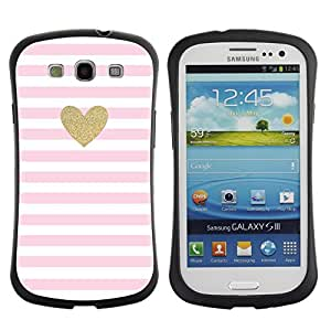 Paccase / Suave TPU GEL Caso Carcasa de Protección Funda para - Heart Gold Glitter Pink White Love Valentines - Samsung Galaxy S3 I9300