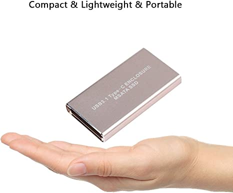 Pokerty External HDD Enclosure 10Gbps Type C to Msata External HDD Enclosure Lossless Data Transmission USB 3.1 Enclosure to Help Avoid Data Loss