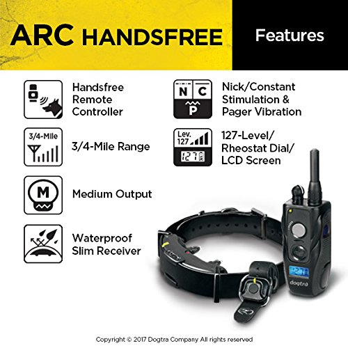 Dogtra ARC HANDSFREE Remote Training Dog Collar - 3/4 Mile Range, Hands Free Remote Controller, Waterproof, Rechargeable, Shock, Vibration - Includes PetsTEK Dog Training Clicker by Dogtra (Image #2)