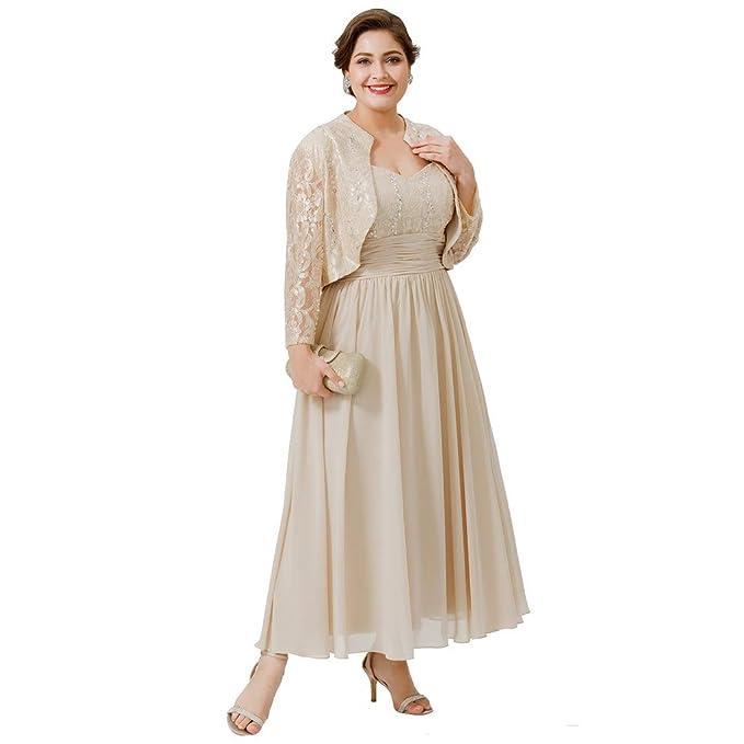 TS Women\'s Plus Size Tea Length Chiffon Beaded Lace Mother ...