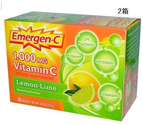 (海外直送品) 2箱 ビタミンC(1000mg) ドリンクミックス レモンライム味 (30パック入り) Vitamin C Fizzy Drink Mix (Lemon Lime) 30-Packets B072PSNTKQ