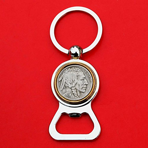 - US 1938 Indian Head Buffalo Nickel 5 Cent Coin Silver Gold Two Tone Key Chain Ring Bottle Opener NEW