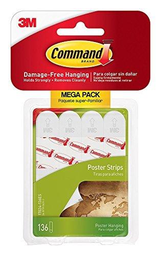 Command Poster Strips Mega-Pack 136 Strips, White