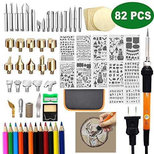 82 PCS Wood Burning Set, Creative Wood Burner Tool with Adjustable On-Off Switch Control Temperature 200~450 ℃ Professional Wood Burning Pen and Various Wooden Carving/Embossing/Soldering Tips