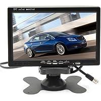 """Cocar 7"""" TFT LCD Retrovisore Posteriore Monitor per Auto Camion con Telecomando, 12V-24V 800*480HD Schermo con 2 RCA canali di Ingressi Video w / Parasole Anti-riflesso"""