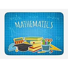 Lunarable Mathematics Classroom Bath Mat, Education Science Concept School and College Supplies Set Books Cap, Plush Bathroom Decor Mat with Non Slip Backing, 29.5 W X 17.5 W Inches, Multicolor