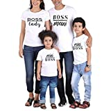 ✔ Hypothesis_X ☎ Kid and Adult Clothes Letter Printing Short Sleeve 69 Happy Family Casual Clothes Matching Tops White