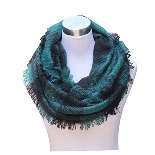 Lucky Leaf Women Autumn and Winter Check Pattern Cashmere Feel Warm Plaid Infinity Scarf (Dark Green Plaid)