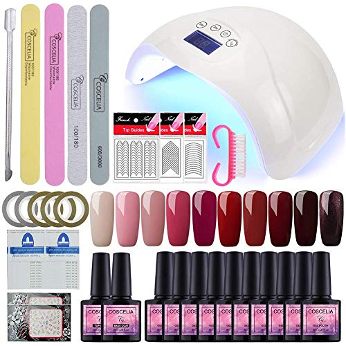 Vilamon 48W USB Lámpara 10pcs Esmalte en Gel Topcoat Base Coat Kit