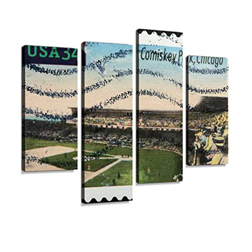 Old Comiskey Park, Chicago on a Postage Stamp Canvas Wall Art Hanging Paintings Modern Artwork Abstract Picture Prints Home Decoration Gift Unique Designed Framed 4 Panel (Framed Park Comiskey)