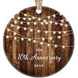 """10th Anniversary Gifts, 2018 Dated Tenth Anniversary Married Christmas Ornament for Couple Mr & Mrs Rustic Xmas Farmhouse Collectible Present 3"""" Flat Circle Porcelain w/Gold Ribbon & Free Gift Box"""