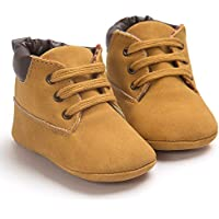 Toddler Baby Boy's Boots Baby Lace up Snow Leather Sneaker Soft Flat Ankle Shoes (6-12 Months, Khaki)