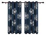 Deconovo Navy Blue Kids Room Curtains Foil Print Floral Curtain Panels Thermal Insulated Window Blackout Curtains for Kids Bedroom 52W by 63L Inch One Pair
