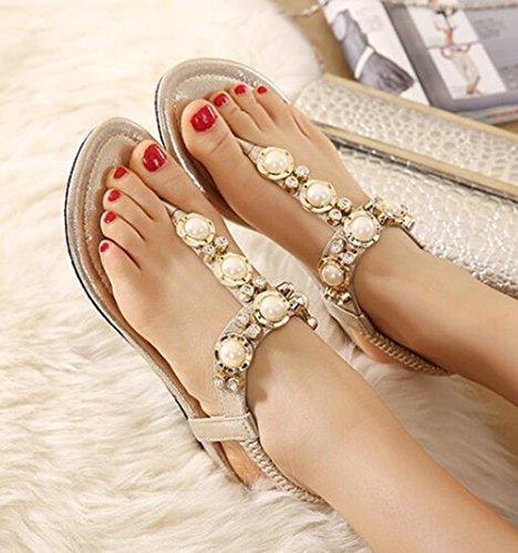 Ohmais Mädchen damen Frauen Flattie Sandalen Flache Schuhe Flops flache Sandalen Sommer mit Perlen Böhmen Golden