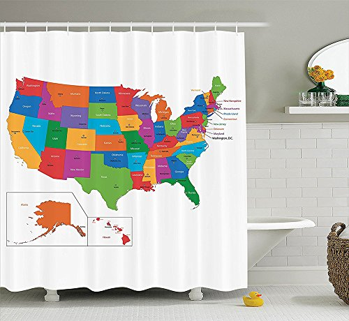 [Wanderlust Decor Collection Colorful USA Map with States and Capital Cities Washington Florida Indiana Image Polyester Fabric Bathroom Shower Curtain Green] (Nerd Costumes At Party City)