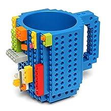 Skyzonal® 2015 DIY Lego Build-On Brick Coffee Mug Bricks Suitable Surface Plastic Tea Cup Geek Drinkware (Blue) by Skyzonal