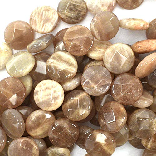 (15mm Faceted Sunstone Coin Beads 15.5