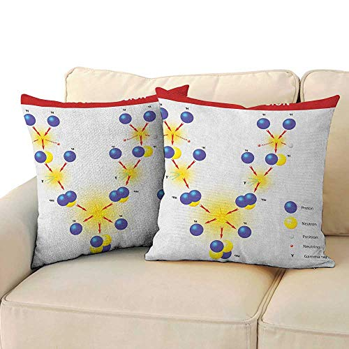 "Educational,Breathable Pillowcase Nuclear Fusion Proton Neutron Chain Hydrogen Cosmic Energy Molecule Atom 16""x 16""x2 Youth Pillowcase Blue Red Yellow"