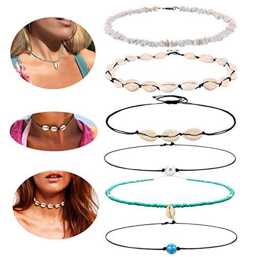 - RIOSO Shell Choker Necklace for Women Men Pearl Seashell Surfer Adjustable Necklace Hawaiian Beach Summer Choker Jewelry
