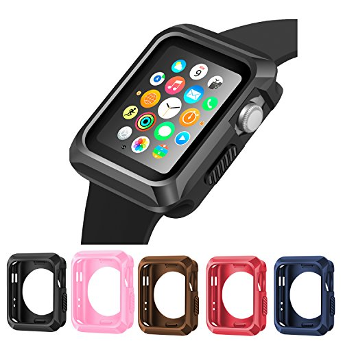 iiteeology Apple Watch Case, Universal Slim Rugged Protective TPU iWatch Case -5 Color Combination Pack for Apple Watch Series 3/2/1 (38mm) by iiteeology