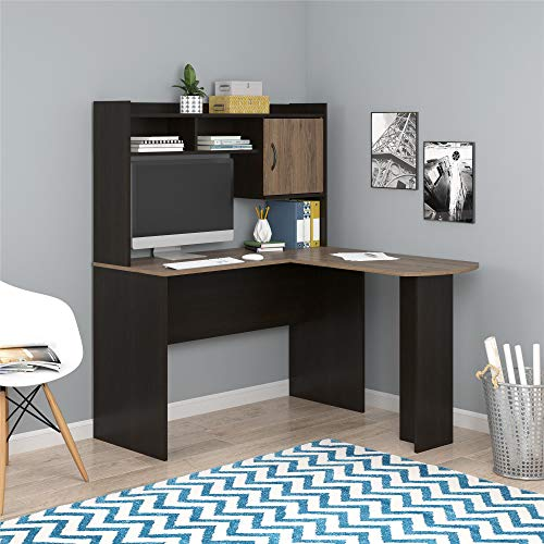 Mainstays Student Desk - Home Office Bedroom Furniture Indoor Desk - Easy Glide Accessory Drawer (Desk Only, Rodeo Oak) (L-Shaped Desk, Espresso/Rustic Oak)