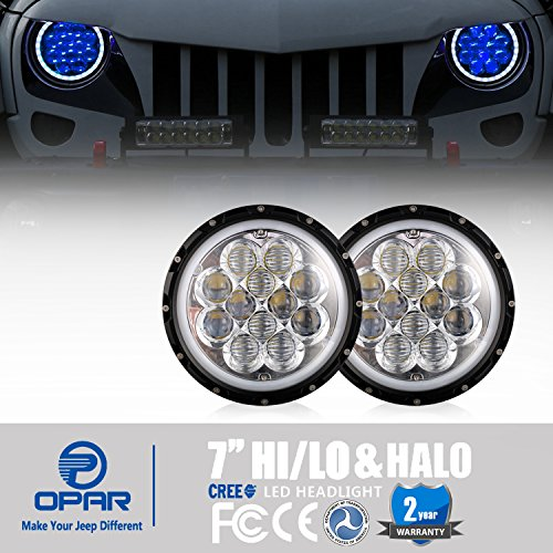 Opar 7 inch LED Headlights w/ Blue DRL Halo Angel Eyes for 1997-2018 Jeep Wrangler TJ JK & Unlimited