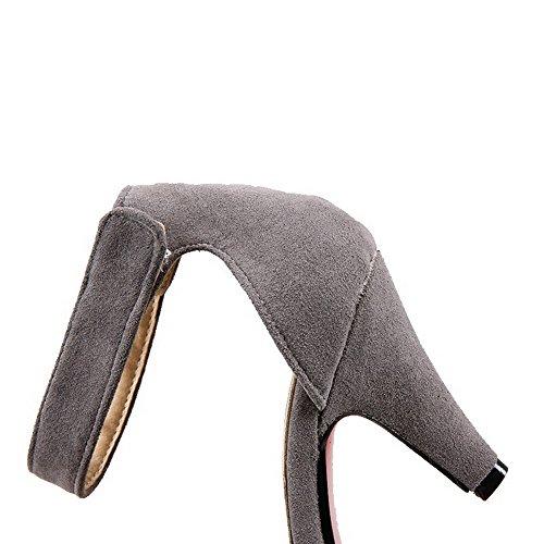 Donna Puro Mucca Punta VogueZone009 Velcro Punta Alto Tacco A Chiusa Ballerine Scarpe di Pelle g7wq6Cwd