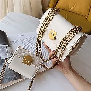 Adebie - Ladies Handbags Women Messenger Bags Flap Shoulder Bags Chains Fashion Solid Cross Body Bags Designer Brand Women Bags 2019 L White []