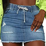 vanberfia Women's Casual Distressed Ripped Denim Short Skirt (JS20196026, XXL)