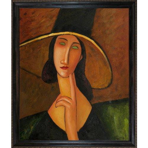 overstockArt Portrait of Woman in Hat, Jeanne Hebuterne in Large Hat 1917 Oil Painting by (Woman Portrait Oil Painting)
