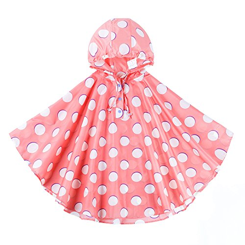 Spring Fever Children's Hooded Poncho Eco-Friendly Cute Stylish Lightweight Raincoats Pink White M (Fit 39.4