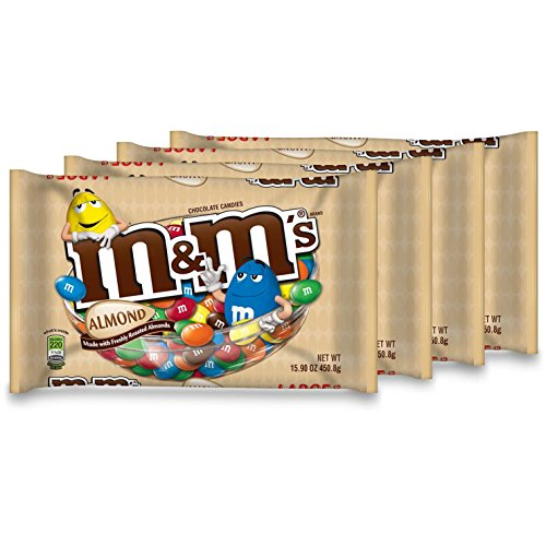 M&M's with Almond Candy, 15.9-Ounce Packages (Pack of 4) (Desserts Sized Bite)