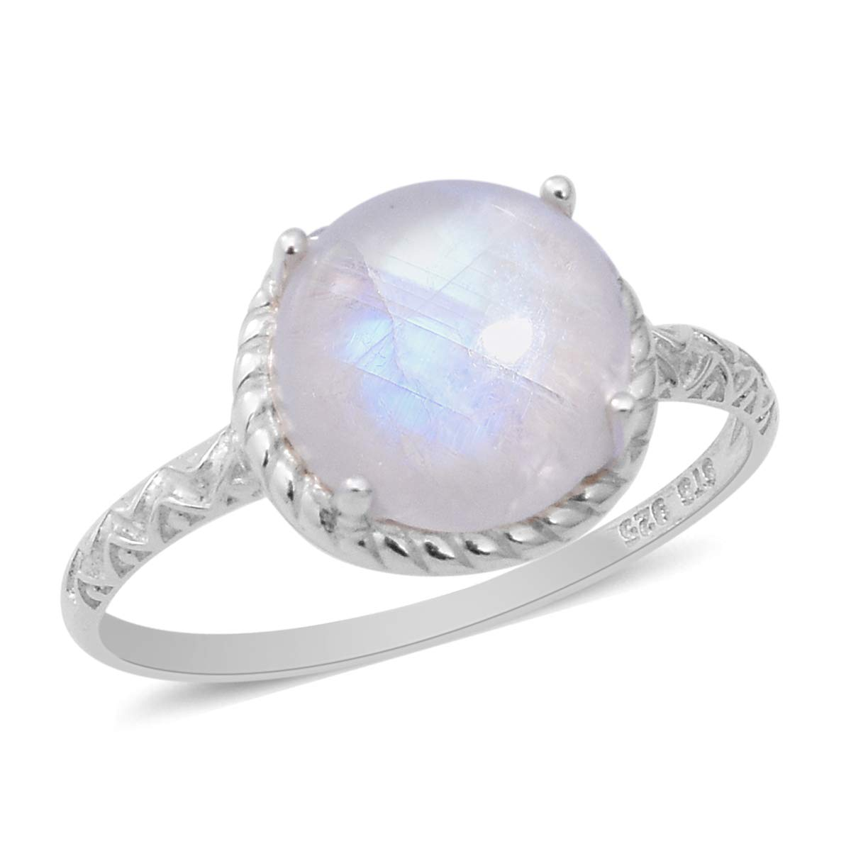 Solitaire Ring 925 Sterling Silver Round Rainbow Moonstone Jewelry for Women Gift Size 5 Ct 3.8