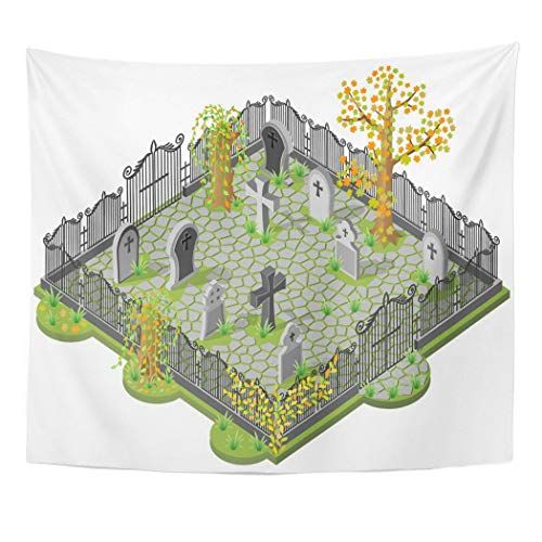 Emvency Wall Tapestry Green Graveyard Cemetery in Autumn