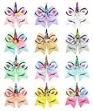 8inch Star Unicorn Large Baby Girl Hair Bows with Clips for Kids Girl Hair Accessories (Hair band, 870-12 PCS)