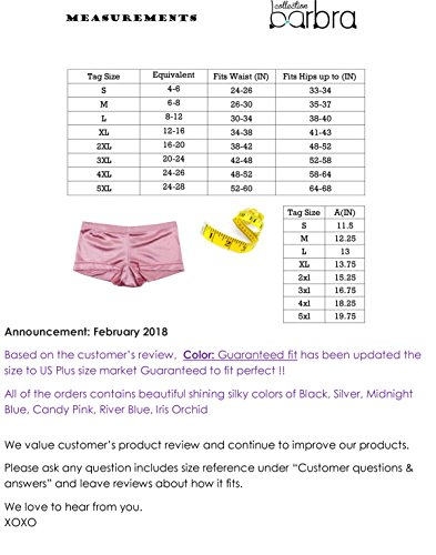 Barbra 6 pack Women/'s Satin Full Coverage Guaranteed Fit Boyshort Panties