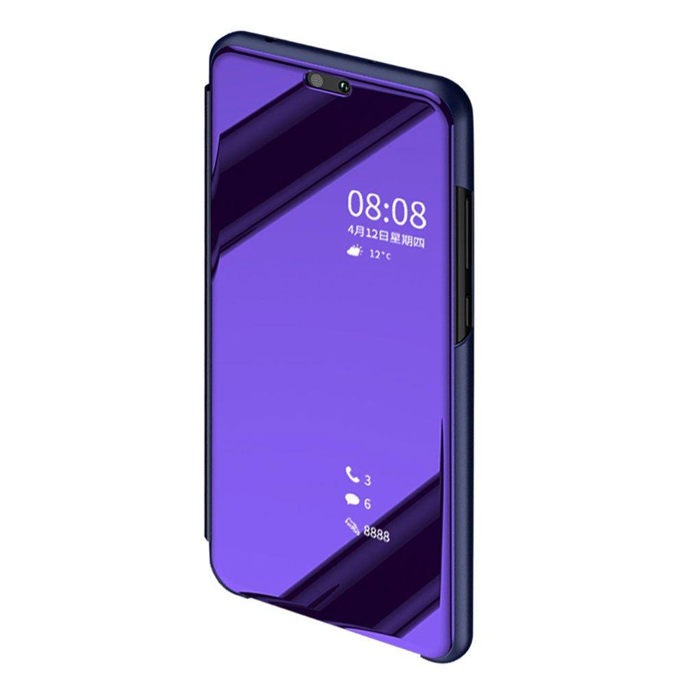 DasKAn Coque Huawei P Smart Miroir Flip,Transparente View Placage Dur PC Housse de Avant Folio Kickstand Plastique et Cuir Hybride Mince Antichoc Protection Compl/ète /Étui de T/él/éphone,Violet#1