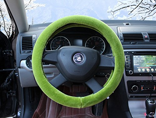 Green Color Fluffy Soft Touch Plush Fur Car Steering Wheel cover 15