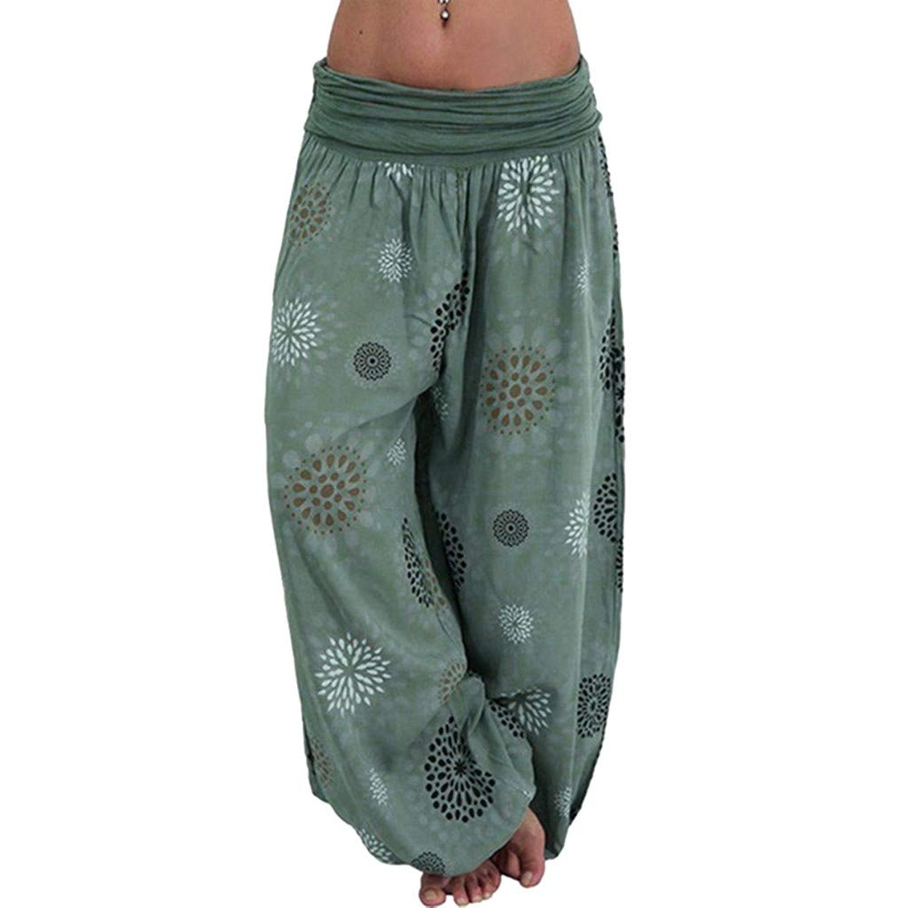 Clearance!!! Yoga Lounge Wide Leg Pants for Womens Plaid Floral Trousers Ladies Comfy Yoga Leggings (Green,L) by Redacel