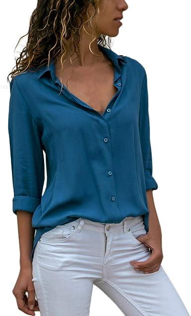 Blusa de Mujer Manga Larga Casual Color sólido Blusa Camisa Basica Cuello en V Camiseta Suelto Otoño Tops Casual Fiesta Sudadera Suéter Original vpass: Amazon.es: Ropa y accesorios